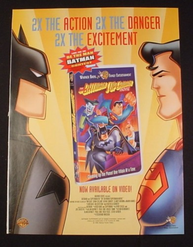 Magazine Ad for The Batman Superman Movie on Video, 1998