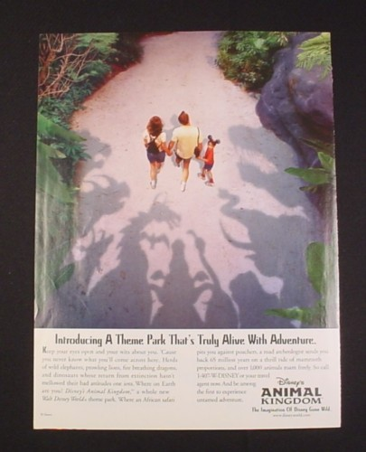 Magazine Ad for Walt Disney World Animal Kingdom 1998 Theme Park