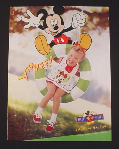 Magazine Ad for Disney Children's Clothing, 1998, Mickey Mouse