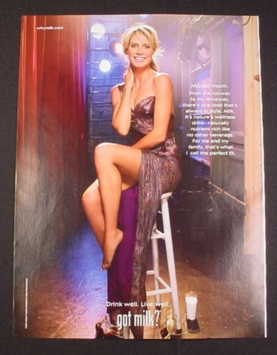 Magazine Ad for Got Milk, 2009, Heidi Klum, Celebrity Endorsement