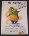 Magazine Ad for Mucinex Mini-Melts, 2010, Muccus Figure