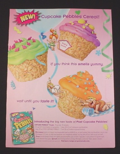 Magazine Ad for Cupcake Pebbles Cereal, 2010