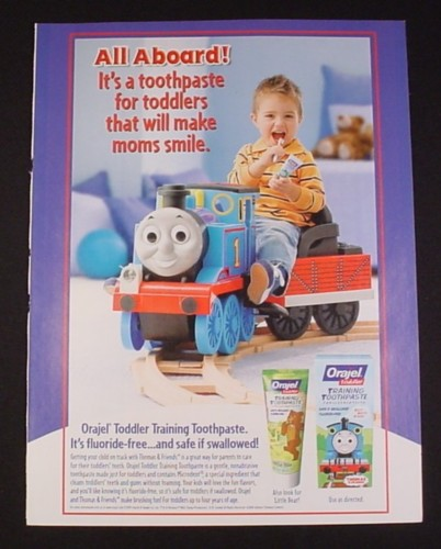 Magazine Ad for Orajel Training Toothpaste, 2010, Thomas The Tank
