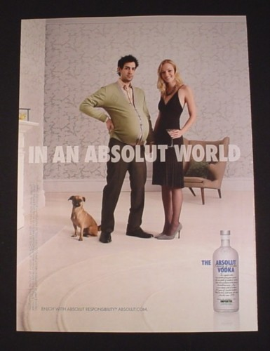 Magazine Ad for Absolut Vodka Pregnant Man, 2007, In An Absolut World