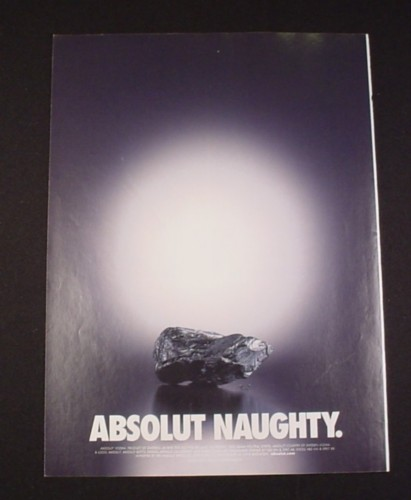 """Magazine Ad for Absolut Naughty Vodka, 2002, 8"""" by 10 3/4"""""""