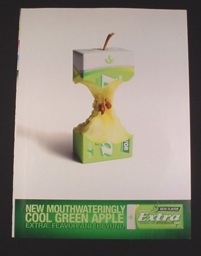 Magazine Ad for Green Apple Extra Gum, 2005, Apple Core Center
