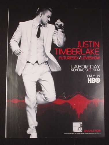 Magazine Ad for Justin Timberlake Futuresex Loveshow TV Show, 2007