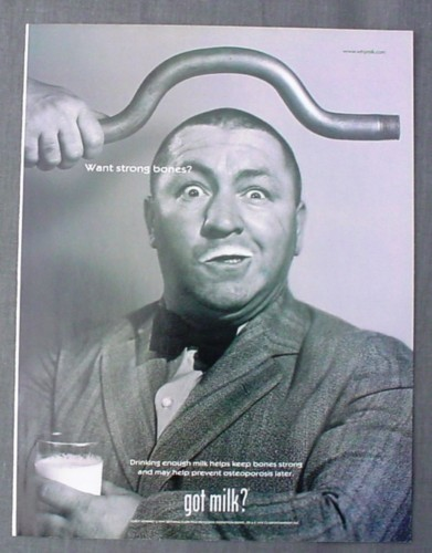 Magazine Ad for Got Milk Curly Howard, 3 Stooges, 1999