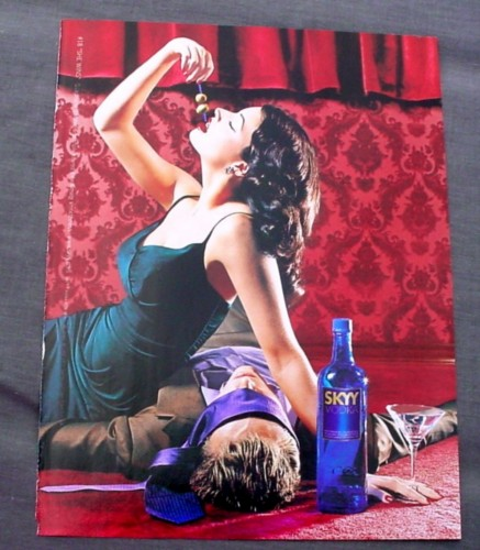 Magazine Ad for Skyy Vodka #18 She Wins, 1999, Sexy Woman Eating Olives