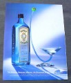 Magazine Ad for Bombay Sapphire Dry Gin, 1999, Weird Martini Glass
