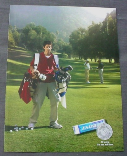 Magazine Ad for Extra Gum, 2002, Caddie with 2 Golf Bags