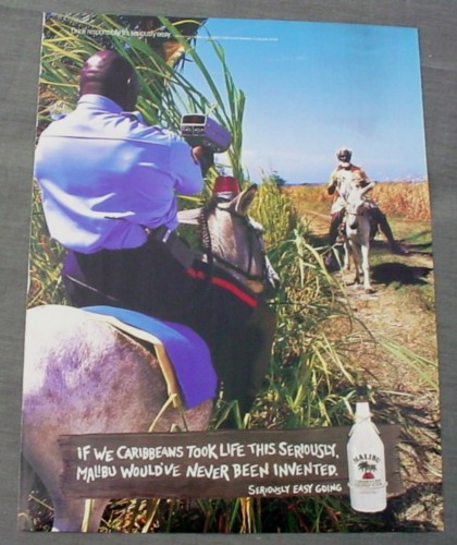 Magazine Ad for Malibu Rum, 2002, Policeman with Radar Gun on Donkey