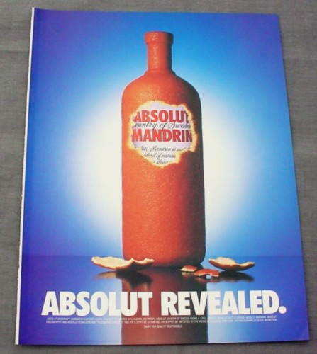 Magazine Ad for Absolut Mandarin 2000 Absolut Revealed Orange Peel