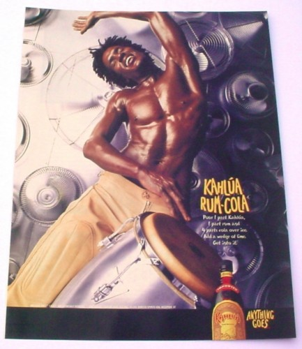 Magazine Ad for Kahlua Rum-Cola, 2000, Man with Bongos