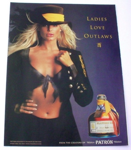 Magazine Ad for Patron Tequila, 2000, Blond with Painted on Shirt