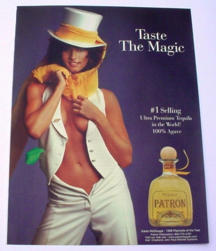 Magazine Ad for Patron Tequila, 2000, Woman with Open Vest & Tophat