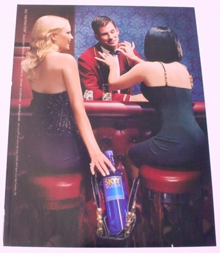 Magazine Ad for Skyy Vodka #51 Distraction, 2001, Stealing a Bottle