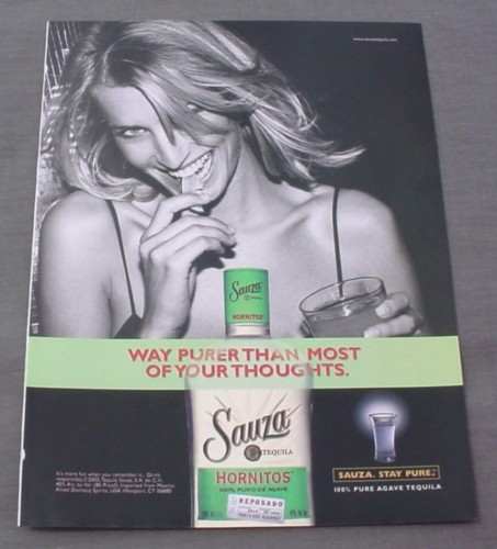 Magazine Ad for Sauza Tequila 2000 Way Purer Than Most of Your Thoughts