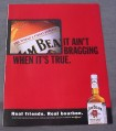 Magazine Ad for Jim Beam Whiskey, 2000, It Ain't Bragging If It's True