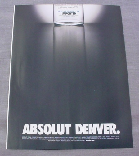 """Magazine Ad for Absolut Denver, 2000, 8 1/4"""" by 10 3/4"""""""