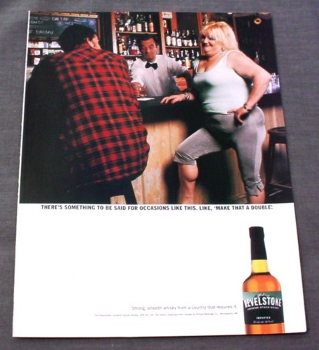 Magazine Ad for Revelstoke Whisky Overweight Woman in Tight Clothes