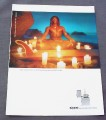 Magazine Ad for Zippo Lighter, Surfer Dude Meditating with Candles 2000