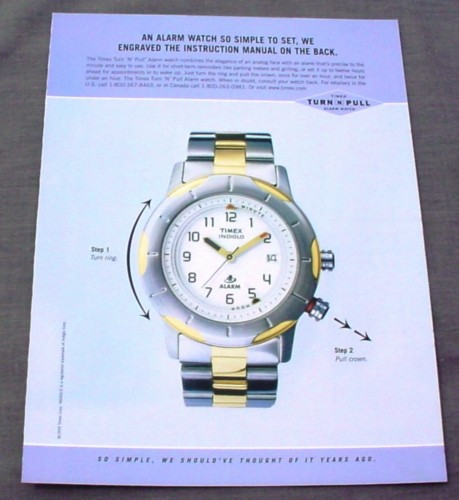 Magazine Ad for Timex Indiglo Watch, Turn N Pull Alarm, 1999