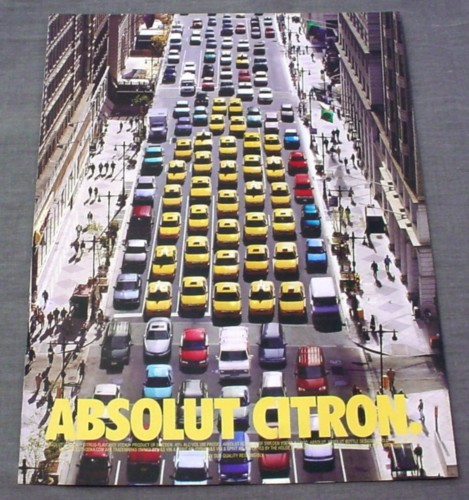 Magazine Ad for Absolut Citron Vodka, 1999, Yellow Cabs in Bottle Shape