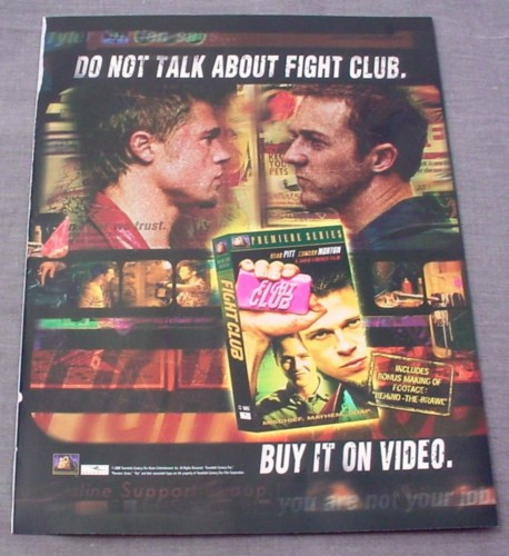 Magazine Ad for Fight Club Movie on Video, 1999, Brad Pitt, Edward Norton