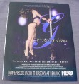 Magazine Ad for G-String Divas TV Show, 1999, HBO, Stripper with Pole