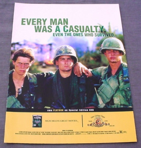 Magazine Ad for Platoon Movie on DVD, 2001, Charlie Sheen