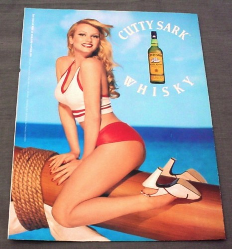 Magazine Ad for Cutty Sark Whisky, 2001, Sexy Pin-Up Girl in Short Shorts