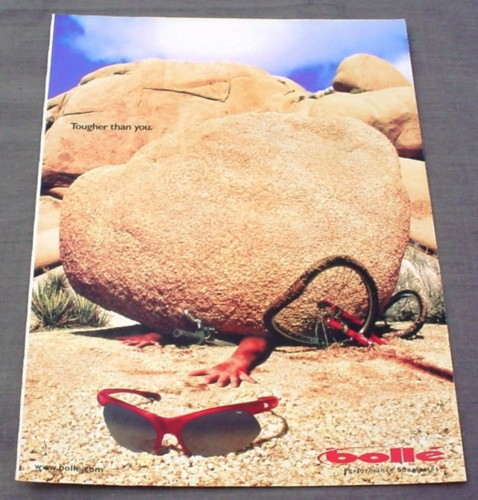 Magazine Ad for Bolle Sunglasses 2001 Boulder on Rider Tougher Than You