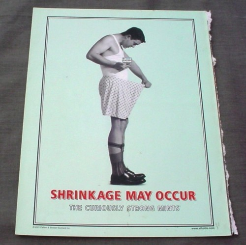 Magazine Ad for Altoids 2001 Shrinkage May Occur Looking in Underwear