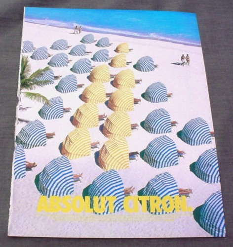 Magazine Ad for Absolut Citron, 2001, Beach Cabanas in Bottle Shape