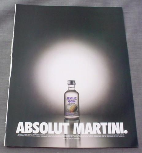 Magazine Ad for Absolut Martini, 2000, Small Absolut Vodka Bottle