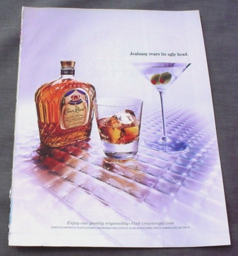 Magazine Ad for Crown Royal 2002 Martini Jealousy Rears it's Ugly head