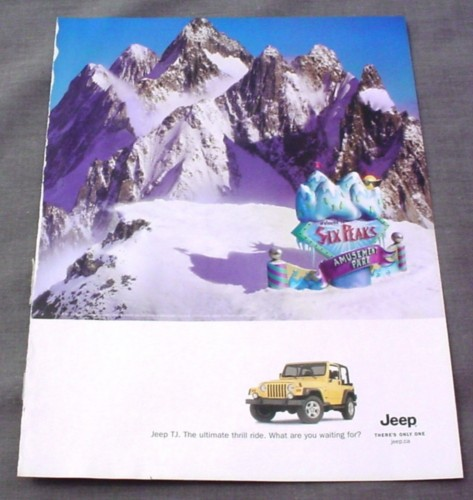 Magazine Ad for Jeep TJ, 2002, Six Peaks Amusement Park