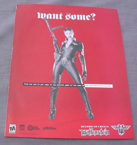 Magazine Ad for Wolfenstein Video Game, 2001, Sexy Woman in Leather