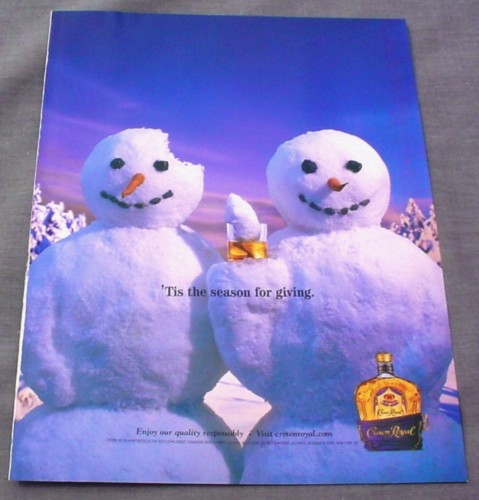 Magazine Ad for Crown Royal 2001 2 Snowmen Piece of Head in Glass