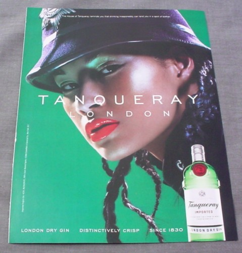 Magazine Ad for Tanquerray Gin, 2001, London, Woman Bobby Hat