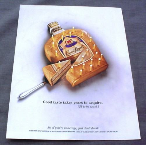 Magazine Ad for Crown Royal, 2001, Bottle Shaped Cake with Slice Out