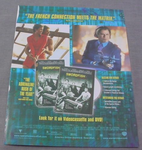 Magazine Ad for Swordfish Movie on DVD & VHS, 2001, Halle Berre