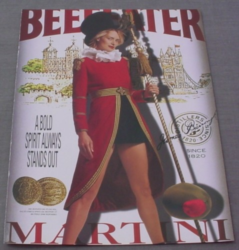 Magazine Ad for Beefeater Martini, 2001, Woman in Red Beefeater Outfit