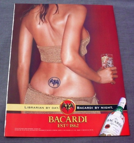Magazine Ad for Bacardi Rum, 2002, Sexy Woman with Bat Tattoo