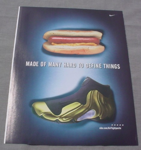 Magazine Ad for Nike Sneakers, 1999, Hot Dog, many Hard To ...  Magazine Ad for...