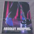 Magazine Ad for Absolut Memphis, 1999, Blue Suede Shoes, Microphone Stand