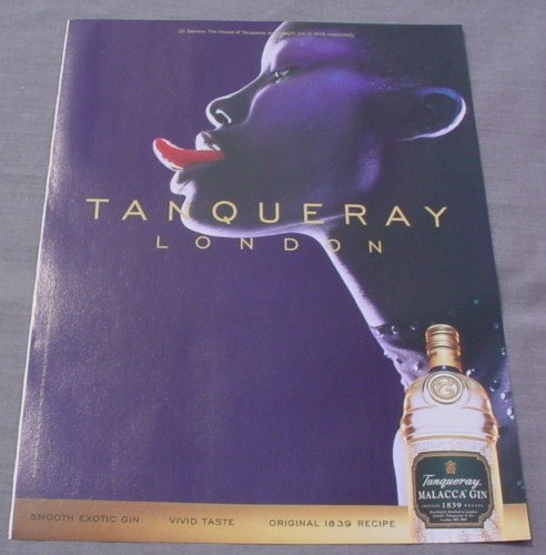 Magazine Ad for Tanqueray Malacca Gin, 2000, Women With Tongue Out