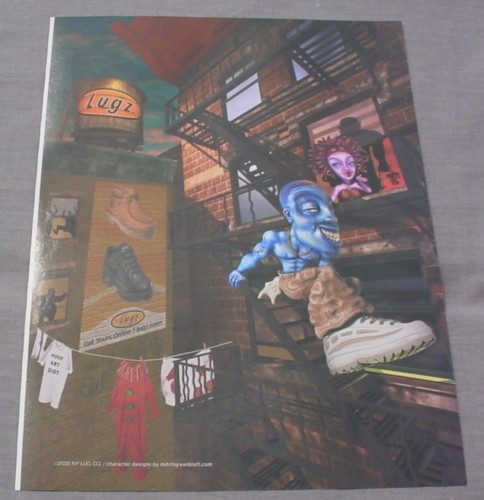 Magazine Ad for Lugz Sneakers, 2000, Cartoon Man on Fire Escape