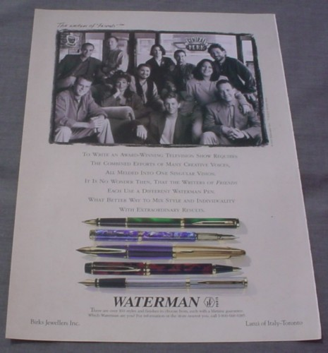 Magazine Ad for Waterman Ballpoint & Fountain Pens, 1996, 5 Different Models